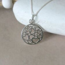 925 Sterling Silver circular pendant with filigree hearts & 18 inch chain