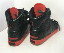 Supra TK Society Mens Black Red Leather Velcro Hi-tops Skate Sneakers Size 12 US