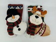 Set Of 2 3D Holiday Season Christmas Stockings Snowman and Reindeer