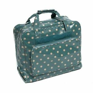 HobbyGift Sewing Machine Bag - Blue Spot Polka Dot - Glossy PVC Storage Crafts