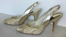 New Vintage Stuart Weitzman Champagne Gold Bridal Sling back Leather Sandals