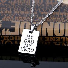 Mens Fashion Jewelry My Dad My Hero Pendant Chain Necklace Dog Tag Silver  5-1