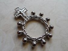 Vintage Silver or White Gold Plated Finger Rosary ITALY 1950's-1960's 6.9 Grams