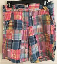 LARRY LEVINE MADRAS PLAID PATCHWORK COTTON SHORTS HIP HOP WOMEN'S SIZE 4