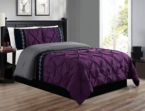 Grand Linen 3 Piece Queen Size Black/Grey/Gray Double-Needle Stitch Puckered Pin