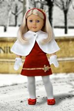 Happy Holidays - 18 inch Doll Clothes, Fancy Party Dress Cape Mittens Shoes