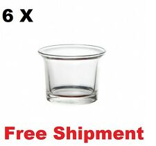 6 X Mini Glass Tealight with Flare Clear 6.5cm X 7cm