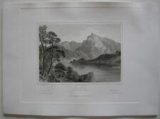 Traunkirchen Spitzelstein Traunsee Oberösterreich Orig. Stahlstich Robock 1847