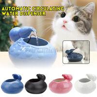 Ceramic Pet Cat Dog Automatic Circulating Water Dispenser Fountain Basin