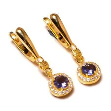 925 Sterling Silver Yellow Gold Plated Iolite Gemstone CZ Drop Dangle Earrings