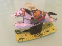 Tin Toy Rocking Running Cowboy on Horse Wind Up Colorful Litho Schylling 1998