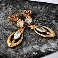 Yellow Gold Filled Womens Cubic Zirconia Crystal Long chandelier Earrings
