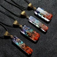 Retro Reiki Healing Colorful Chips Stone Natural Chakra Crystal Pendant Necklace