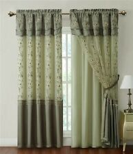 "Sage Green Window Curtain Drapery Panel w/ Attached Backing and Valance 57""x90"""
