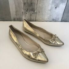 Women BARNEYS NEW YORK Gold Textured Slip On Pointy FLATS Size 7.5 Bow