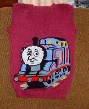 THOMAS TRAIN VEST   NEW HAND KNITTED SIZE 6