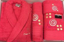 PIERRE CARDIN L/XL 4 PIECE BATHROBE TOWEL SET CERISE HOT PINK CIRCLE 100% COTTON