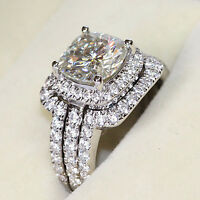 2.50 Ct Cushion Cut Diamond Bridal Set Band Engagement Ring Real 14K White Gold