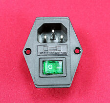 10A 250V AC Rocker Switch 3 Pin IEC320 C14 Inlet Module mALE Plug Fuse, New,