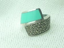 Estate Vintage Sterling Silver Marcasite & Turquoise Bypass Style Ring