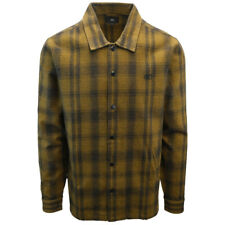OBEY Men's Black Golden Brown Plaid L/S Flannel Shirt (S13) Medium