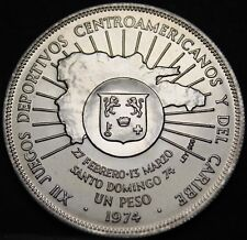 Dominican Republic Peso, 1974 Silver Gem Unc~12th Caribbean Games~Free Shipping