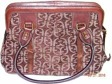 Fossil Tapestry Cloth Brown Carpet Bag Purse Leather Trim Missing Key Fob