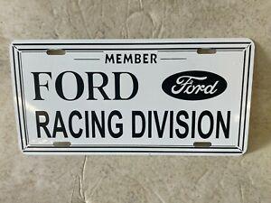 Vintage NOS Ford Racing Division Member License Plate