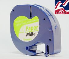 6 x tape cartridge 91200 white paper 12mm by 4m for DYMO LETRATAG label makers