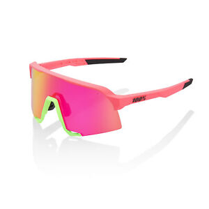 100% Sunglasses S3 - Matte Washed Out Neon Pink - Purple Multilayer Mirror Lens