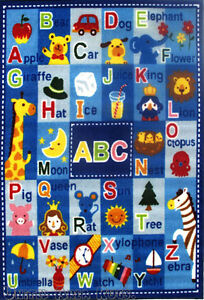 3x5 ABC RUG Kids Educational Alphabet & Numbers Kid Play School Non Skid Backing