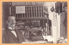 Real Photo Postcard RPPC - Man at Desk with Monarch Typewriter and Books