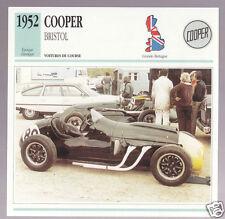 1952 Cooper Bristol British Race Car Photo Spec Sheet Info Stat French Card
