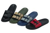 Brand New Mens Slides Sandals Adjustable Buckle Comfort Slip On Flip Flops Color