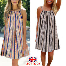 UK Womens Summer Beach Wear Bikini Cover Up Boho Sleeveless Mini Sun Dress 8-24