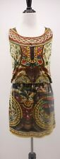 Desigual Small Embroidered Gold Thread Blouson Style Exotic Printed Dress