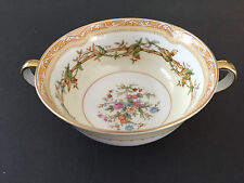 Noritake China Olympia 680 Green Leaves Vine, Floral - FOOTED CREAM SOUP BOWL