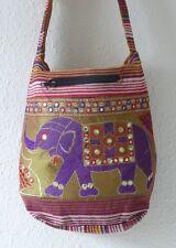 Boho Elephant Mirror Embroidered Shoulder Bag Handmade Silk Hippy/Ethnic Style