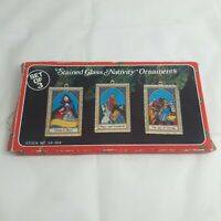 Set of 3 VINTAGE Stained Glass Christmas tree Ornaments -  NATIVITY SCENE