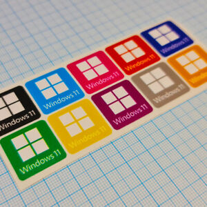 Windows 11 Sticker Case Badge Decal - 10 Vinyl Stickers - Complete Color Scheme