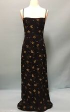 PAPELL BOUTIQUE Women's Black Floral Beaded Strap Dress 100%Silk Sz 4 NWT $148