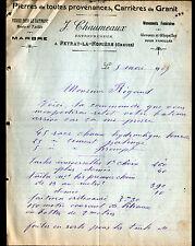 """PEYRAT-LA-NONIERE (23) PIERRES ,CARRIERES de GRANIT, MARBRE """"J. CHAUMEAUX"""" 1907"""