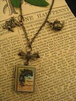 Bronze ALICE Wonderland Book Photo LOCKET Necklace Pendant Steampunk Charms