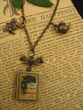 Bronce Alice Wonderland Libro Foto Medallón Collar Colgante Steampunk encantos