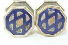 VTG 1920'S ART DECO JEM LINK NAVY BLUE CELLULOID SNAP LINK CUFFLINKS