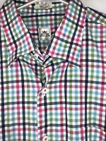 Peter Millar Mens Button Down Long Sleeve Shirt Plaid Size Large EUC