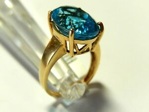 12 Carat Natural Oval London Blue Topaz 10K Solid Yellow Gold Ring Size 7