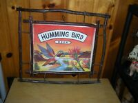 Humming Bird Beer Original Artwork Watercolor on canvass with Branch Frame Nice