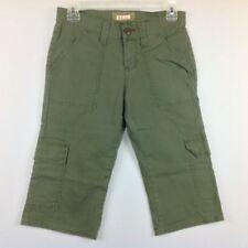 Bongo Shorts Women Juniors 3 Stretch Army Green Cargo Pockets Long Bermuda