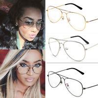 New Vintage Fashion Classic Unisex Big Round Sunglasses Clear Lens Glasses Frame